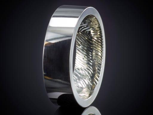 Vingerafdruk ring zilver afdruk binnenzijde