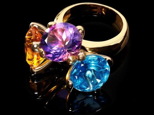 Ring Danser collectie combi paars - geel - blauw Sieraden in Stijl