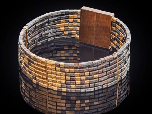 bijzondere zilveren armband met verguld goud en geoxideerd zilver
