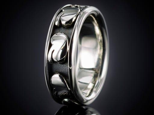 Nier ring zilver zwart