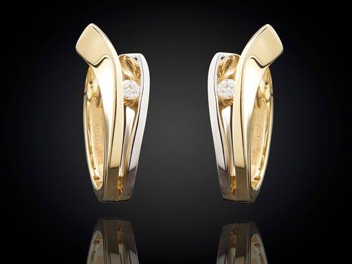 Oorbellen diamant bi-color Sieraden in Stijl
