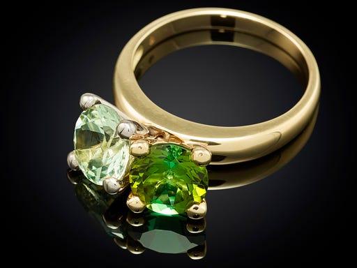 danser ring combi groen bewegende edelstenen Sieraden in Stijl