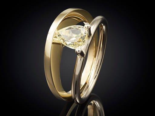 Ring goud bicolor Zonsopgang Diamant goudsmid marijke mul