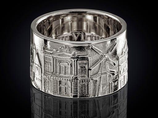 Zilveren Haarlem ring breed City Jewels Nederland Vicit Vim Virtus
