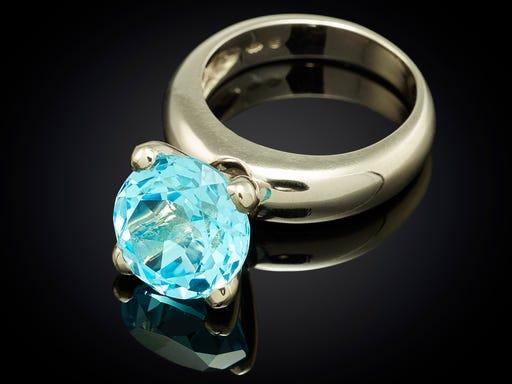 Ring Danser witgoud blauw Topaas Large sieraden in stijl