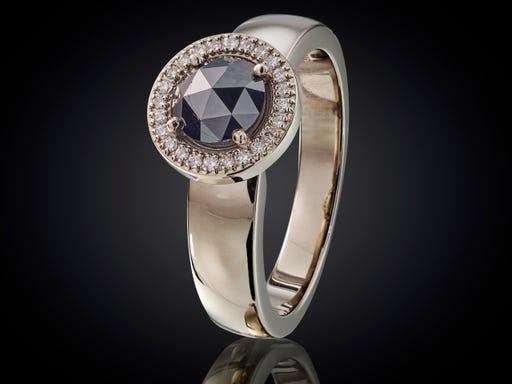 witgouden, trouwring, verlovingsring, ring, met, zwarte, Roos, diamant, Sieraden, in, Stijl