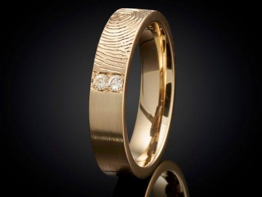 Vingerafdruk ring goud met diamant 4mm Sieraden in stijl