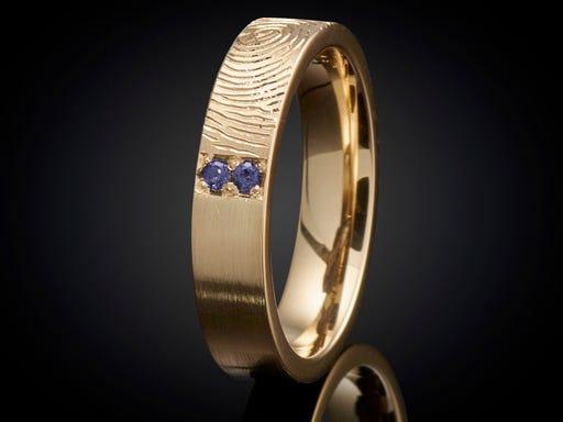 Vingerafdruk ring goud met saffier 4mm Sieraden in Stijl