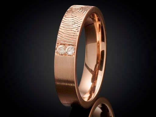 Vingerafdruk ring roodgoud met diamant 4mm Sieraden in Sijl