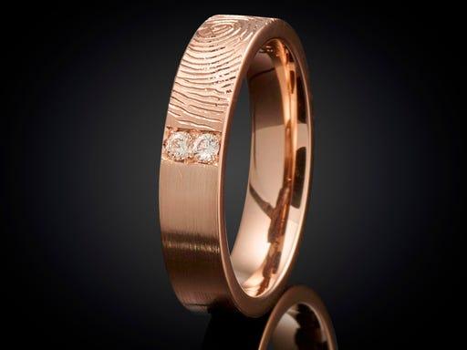 Vingerafdruk ring roodgoud met diamant 6mm Sieraden in Stijl