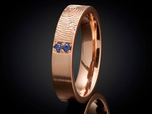 Vingerafdruk ring roodgoud met saffier 4mm Sieraden in Stijl