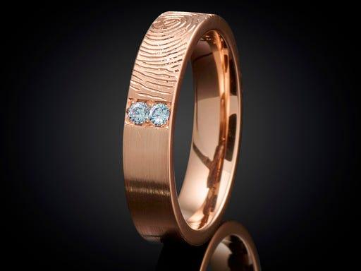 Vingerafdruk ring roodgoud met topaas 4mm Sieraden In Stijl