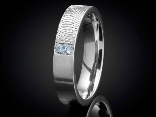 Vingerafdruk ring witgoud met topaas 5mm Sieraden In Stijl