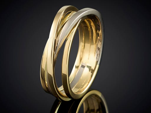 Ring wikkelserie 4 baans bi-color wikkelring goudsmid juwelier Marijke Mul Haarlem trouwen trouwring cadeau