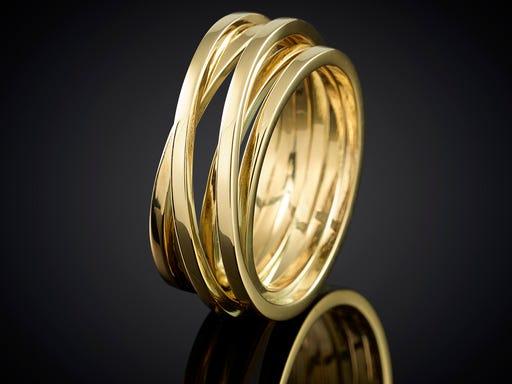 Ring wikkelserie wikkelring 6 baans geelgoud cadeau huwelijk trouwen juwelier goudsmid haarlem