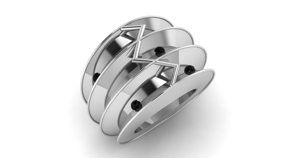 E & M ring dames model zilver digitaal ontwerp Marijke Mul Sieraad laten maken