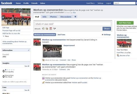 Page voor het werken op evenementen op Facebook